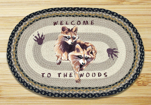 Earth Rugs™ Oval Patch Rug - Raccoon Welcome - OP-116