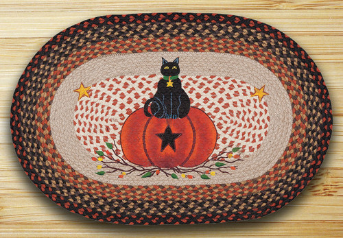 Earth Rugs™ Oval Patch Rug - Black Cat, Pumpkin - OP-222