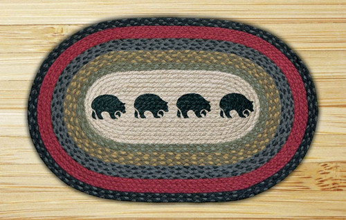 Earth Rugs™ Oval Patch Rug - Black Bears - OP-238