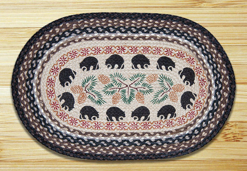 Earth Rugs™ Oval Patch Rug - Black Bears - OP-313