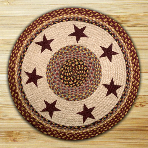 Earth Rugs™ Oval Patch Rug - Burgundy Stars - RP-357