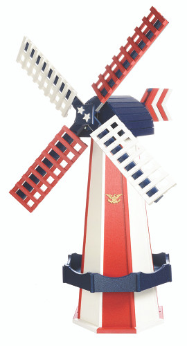 Amish Crafted Poly Windmill, Finished In Primary Color: Patriotic Style, Accent/Trim Color: Patriotic Style