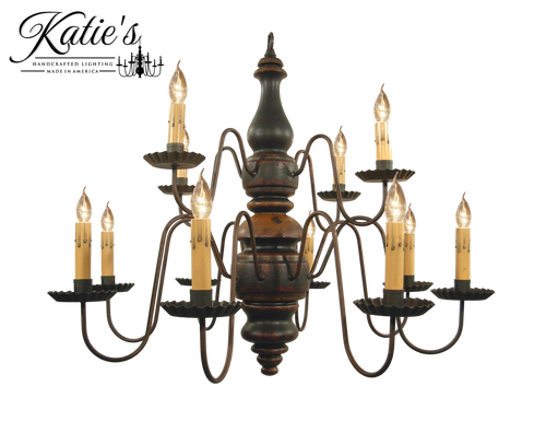 Katie's Handcrafted Lighting Charleston Wood Chandelier Pictured In: Base Coat Color = Barn Red, Top Coat Color = Black Crackle, Trim Color = Spicy Mustard