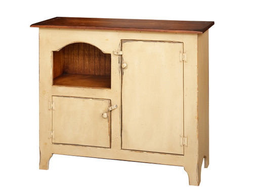 Amish Handcrafted Colonial Hutch by Vintage Creations By Sam - Finished In Antique 2-Tone Buttercream With Heritage Stain