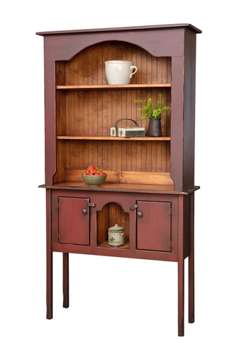 Amish Handcrafted Colonial Huntboard Hutch by Vintage Creations By Sam - Finished In Antique 2-Tone Barn Red With Heritage Stain