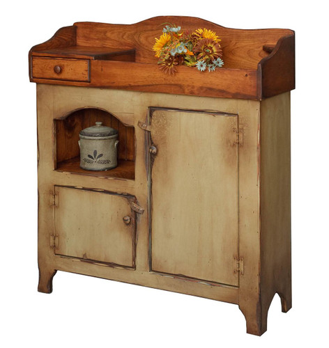 Amish Handcrafted Colonial Dry Sink by Vintage Creations By Sam - Finished In Antique 2-Tone Sage With Heritage Stain