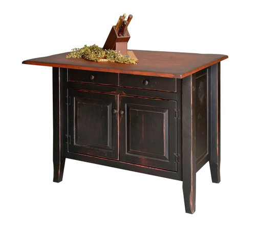 Amish Handcrafted Medium Country Kitchen Island by Vintage Creations By Sam - Finished In Antique 2-Tone Finish Black With Heritage Stain