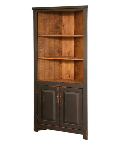 "Amish Handcrafted 32"" Corner Cupboard by Vintage Creations By Sam - Finished In Antique 2-Tone Finish Black With Heritage Stain"