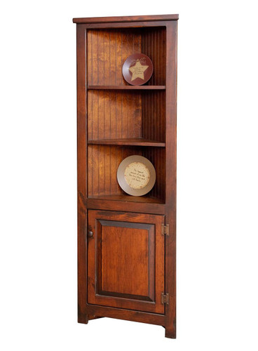 "Amish Handcrafted 24"" Corner Cupboard by Vintage Creations By Sam - Finished In Antique Finish With Heritage Stain"