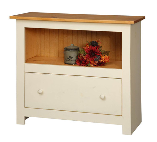 Amish Handcrafted 3 Foot Bookcase With 1 Drawer by Vintage Creations By Sam - Finished In Distressed 2-Tone Finish, Cream White With Honey Pine Stain
