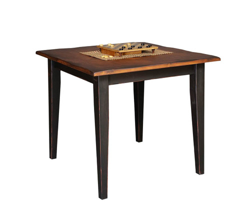 "Amish Handcrafted 4 Foot Farm Table With 3"" Shaker Legs by Vintage Creations By Sam - Finished In Antique 2-Tone Finish, Black With Heritage Stain"