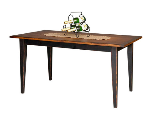 "Amish Handcrafted 5 Foot Farm Table With 3"" Shaker Legs by Vintage Creations By Sam - Finished In Antique 2-Tone Finish, Black With Heritage Stain"