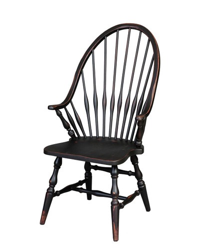 Amish Handcrafted Windsor Arm Chair by Vintage Creations By Sam - Finished In Antique Finish, Black