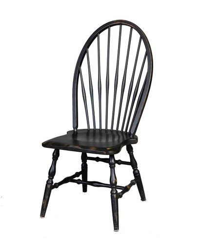Amish Handcrafted Windsor Side Chair by Vintage Creations By Sam - Finished In Antique Finish, Black