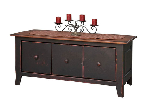 Amish Handcrafted Coffee Table Chest With Drawers by Vintage Creations By Sam - Finished In Antique 2-Tone Finish, Black With Heritage Stain
