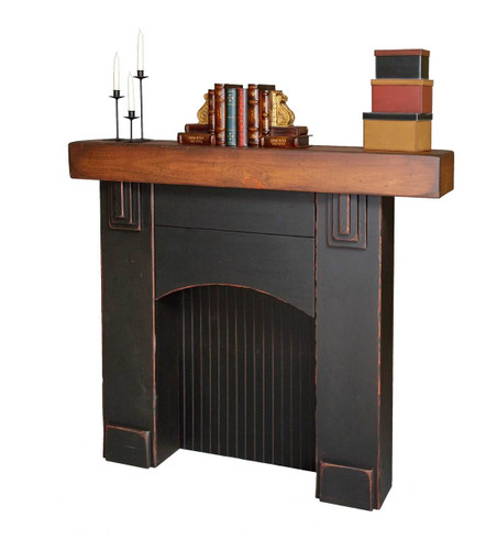 Amish Handcrafted Fireplace Mantel by Vintage Creations By Sam - Finished In Antique 2-Tone Finish, Black With Harvest Stain