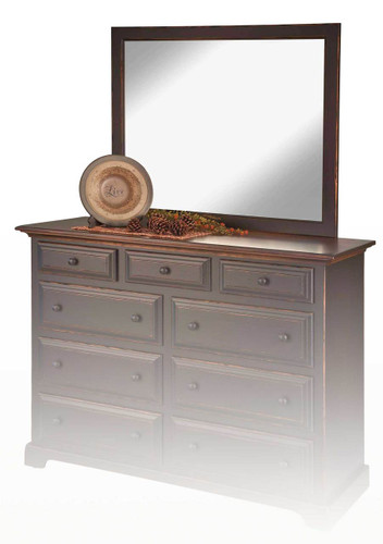 Amish Handcrafted Beveled Dresser Mirror by Vintage Creations By Sam - Finished In Antique Finish, Black