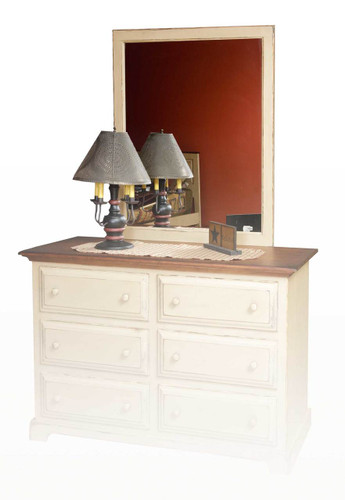 Amish Handcrafted Dresser Mirror Beveled by Vintage Creations By Sam - Finished In Antique Finish, Buttercream