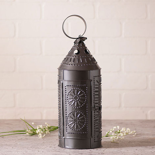 "Irvin's Tinware 17"" Sturbridge Lantern Candle Holder Finished In Smokey Black"