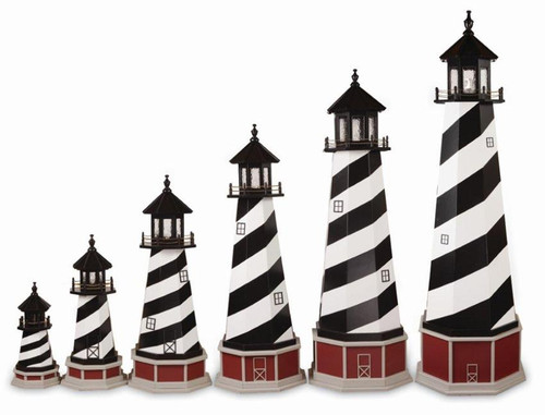 Amish Made Wooden Garden Lighthouse - Cape Hatteras - Shown As: 2'-8' Foot With Optional Base, Standard Electrical Lighting, Roof & Tower Primary Color Black, Tower Accent/Trim Color White. Optional Base Primary Color Red, Optional Base Trim Color Clay, No Base/Tower Interior Lighting