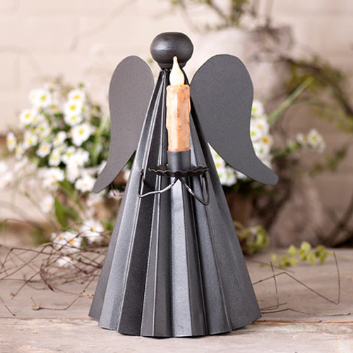 Irvin's Tinware Angel Candle Holder Finished In Smokey Black