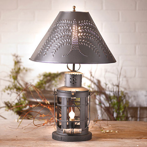 "Irvin's Innkeeper's Lamp With 15"" Willow Shade Finished In Smokey Black"