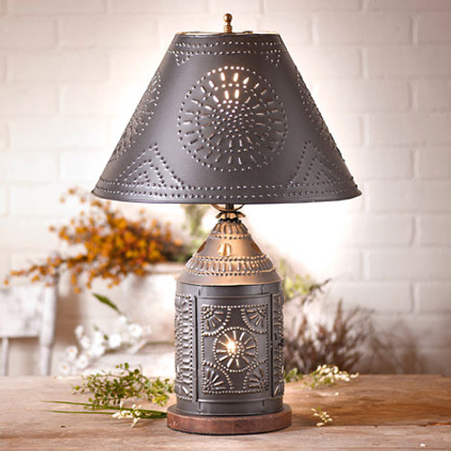Irvin's Tinware Tinner's Revere Lamp With Chisel Shade Finished In Smokey Black