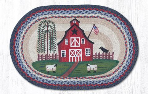 Earth Rugs™ Oval Patch Rug - Barn Scene - OP-015