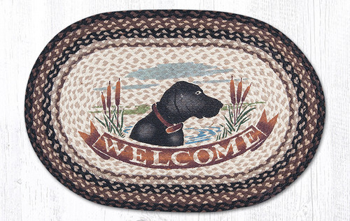 Earth Rugs™ Oval Patch Rug - Welcome Dog - OP-313