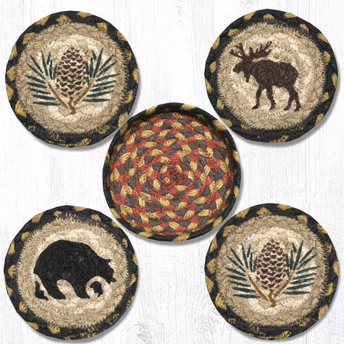Earth Rugs™ braided coasters In a basket set: Wilderness - CNB-043