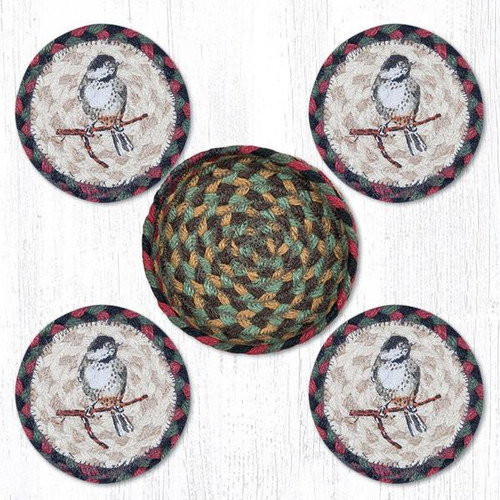 Earth Rugs™ braided coasters In a basket set: Chickadee - CNB-081