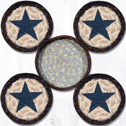 Earth Rugs™ braided coasters In a basket set: Blue Star - CNB-312