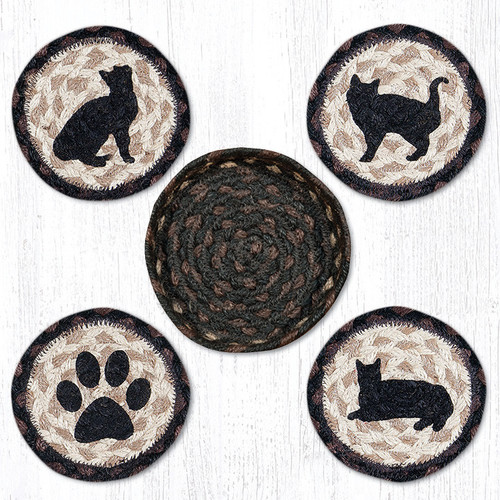 Earth Rugs™ braided coasters In a basket set: Porch Cat - CNB-313