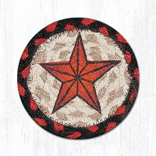 "Earth Rugs™ Braided Jute 5"" Round Coaster:  Barn Star Design - 31-IC019BS"