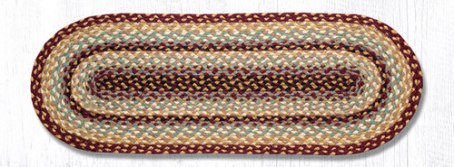 Earth Rugs™ Braided Jute Oval Table Runner: Burgundy/Gray/Cream - C-357