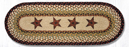 Earth Rugs™ Braided Jute Oval Table Runner: Barn Stars OP-19