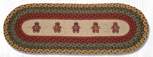 Earth Rugs™ Braided Jute Oval Table Runner: Gingerbread Men 68-111GBM