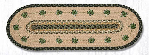 Earth Rugs™ Braided Jute Oval Table Runner: Shamrock 68-116S
