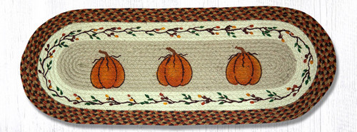 Earth Rugs™ Braided Jute Oval Table Runner: Harvest Pumpkin 68-222HP