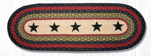Earth Rugs™ Braided Jute Oval Table Runner: Black Stars 68-238S