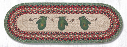 Earth Rugs™ Braided Jute Oval Table Runner: Mittens 68-252M
