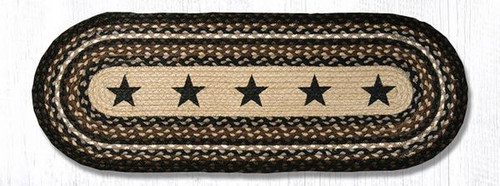 Earth Rugs™ Braided Jute Oval Table Runner: Black Stars 68-313BS