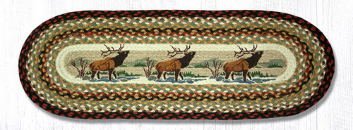 Earth Rugs™ Braided Jute Oval Table Runner: Winter Elk