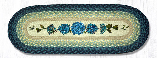 Earth Rugs™ Braided Jute Oval Table Runner: Blue Hydrangea