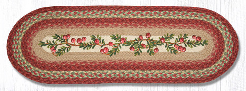 Earth Rugs™ Braided Jute Oval Table Runner: Cranberries