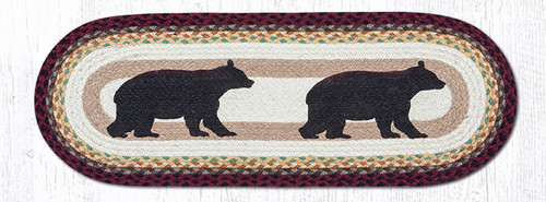 Earth Rugs™ Braided Jute Oval Table Runner: Cabin Bear