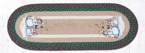 Earth Rugs™ Braided Jute Oval Table Runner: Birdhouse Snowman