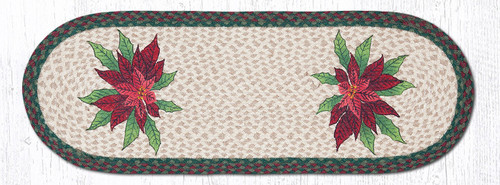 Earth Rugs™ Braided Jute Oval Table Runner: Poinsettias