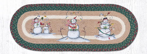 Earth Rugs™ Braided Jute Oval Table Runner: Snowmen