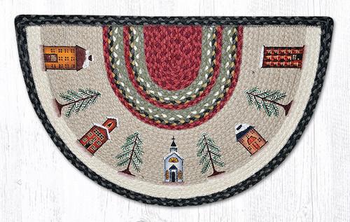 Earth Rugs™ Braided Jute Printed Slice Rug - Winter Village